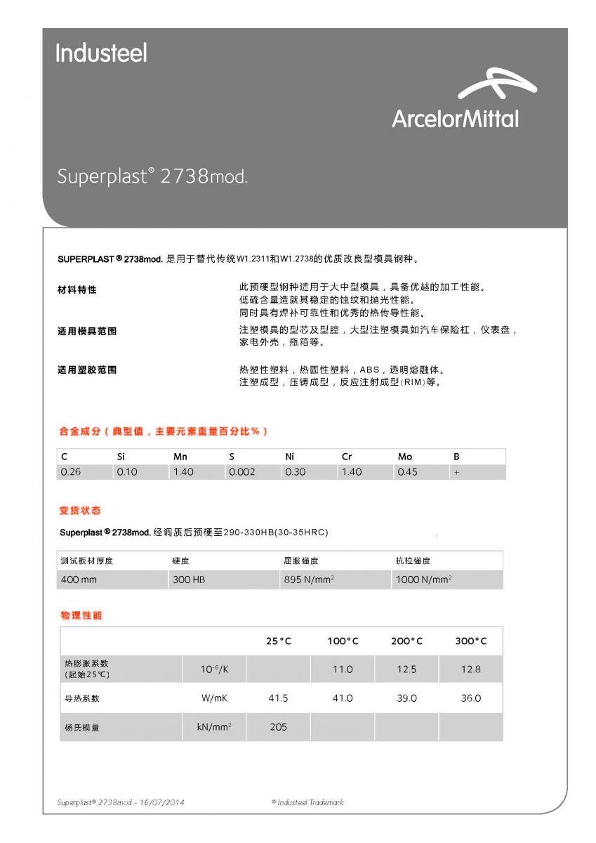 阿赛洛SP2738mod.产品质量证书